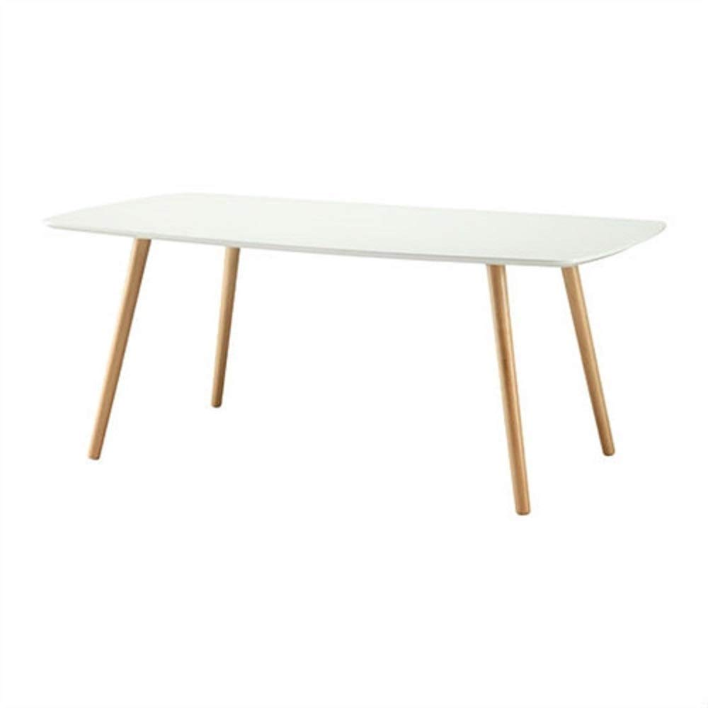 White Top Mid-Century Coffee Table with Solid Wood Legs Square Round French Chrome Painted MyEasyShopping