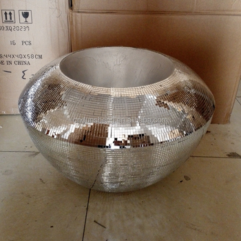 Large Silver Chrome Mirror Glass Mosaic Vase Bowl 33cm For Home