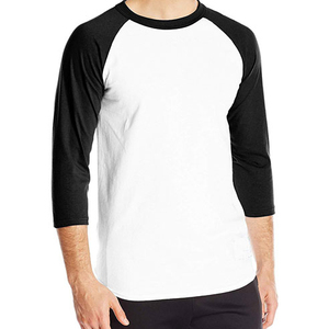 oem baseball tee shirts raglan jersey 3/4 sleeve plain tee men's t shirt