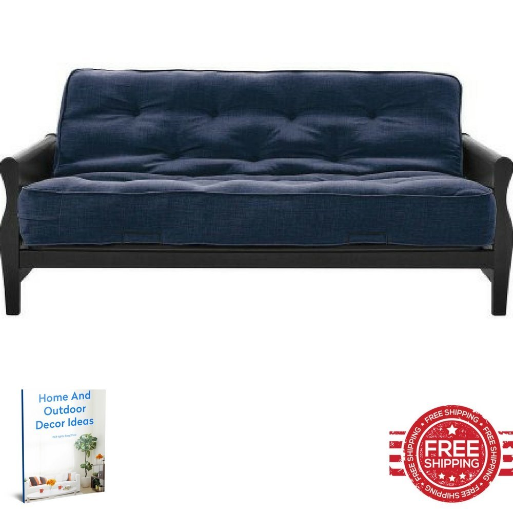 Get Quotations Futon Sofa Bed Multipurpose Metal Frame Storage Wooden Arms Magazine Rack Convertible Full Set