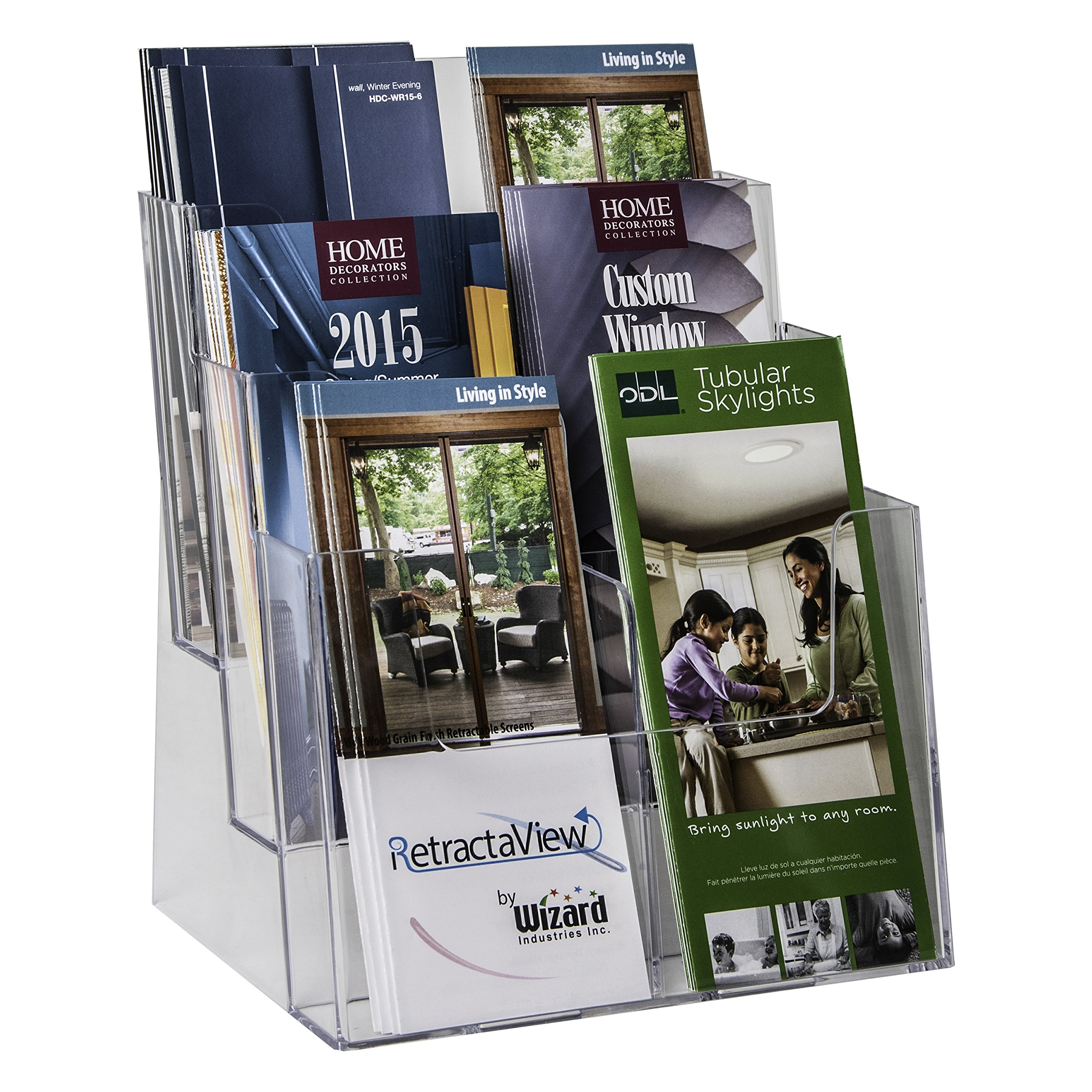 Clear-Ad - LHF-S83 - Acrylic 3 Tier 6 Pocket Brochure Holder Organizer - Table Top or Wall Mount Leaflet Rack 8.5 x 11 (Pack of 1)