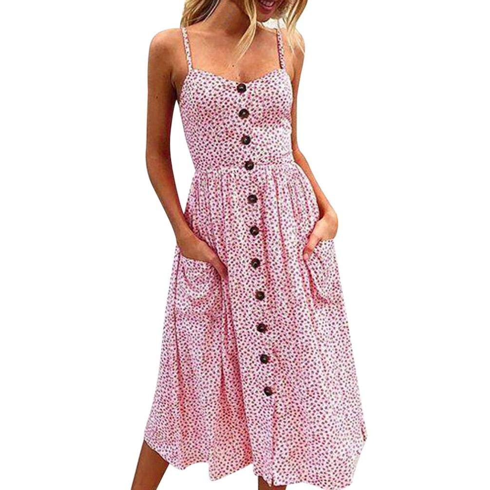 349ff4ce789 Get Quotations · Howstar Casual Long Dress For Women Sleeveless Vintage  Dress For Ladies Party Dresses With Pocket
