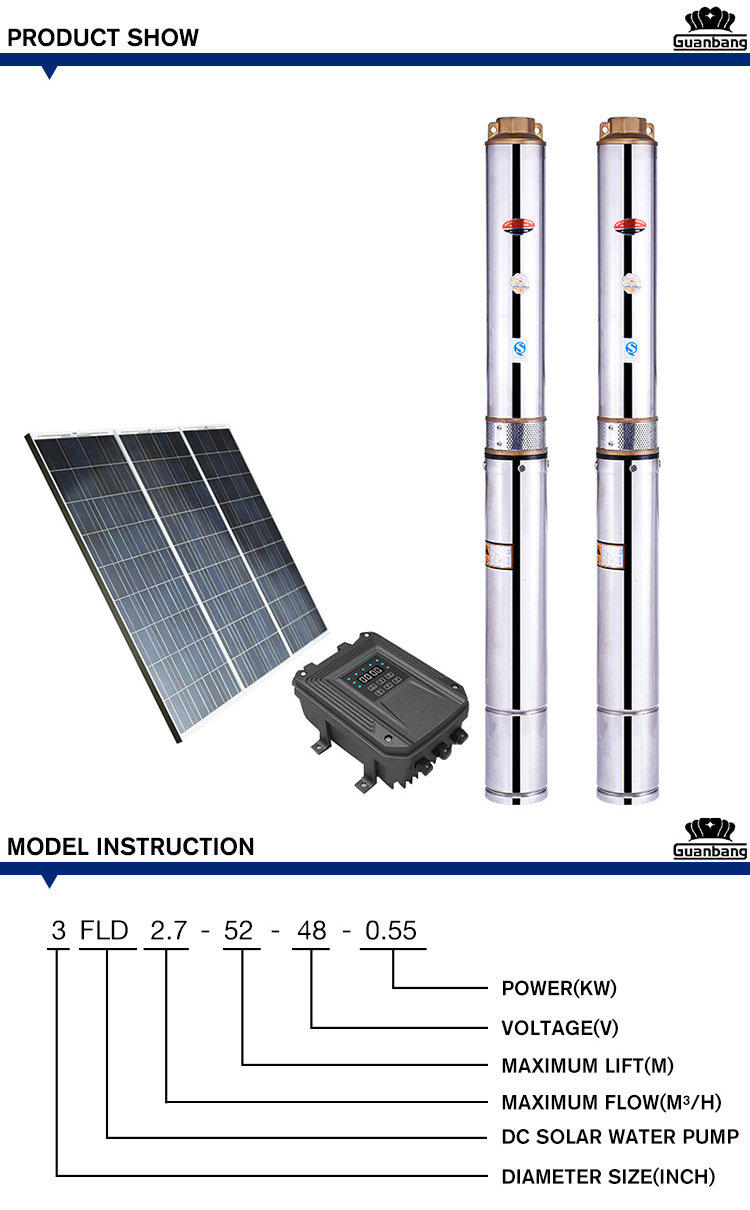 Alta calidad de energía Solar sumergible bomba de agua para riego