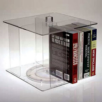 Floorstanding 2 Tier Acrylic Magazine Book Rack Lucite 9 Pocket Home Stand