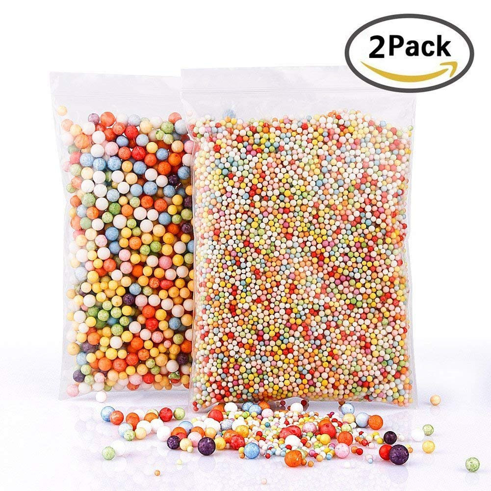 Foam Beads for Slime, 2 Pack Rainbow Foam Beads Styrofoam Balls for Arts DIY Crafts Supplies For Homemade Slime, Kid's Craft, Wedding and Party Decoration