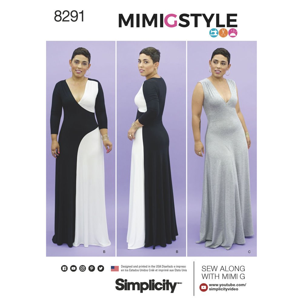 Simplicity Pattern 8291 BB Mimi G Style Misses'/Women's Floor Length Knit Dress, Size BB (20W-22W-24W-26W-28W)