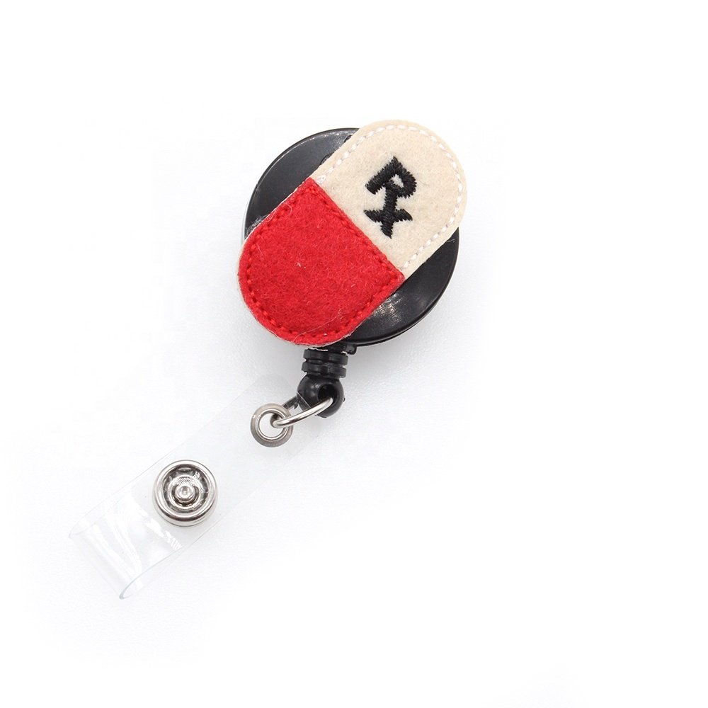 free shipping felt RN Retractable nurse id Badge Reel