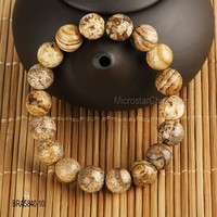 10mm Natural Picture Jasper Bracelet Gem Stone Round Jewelry Beads Stretch Handmade Bracelet For Women Men