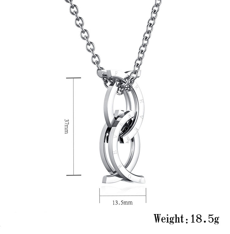 Fashion stainless steel deformable ring fish pendant necklace
