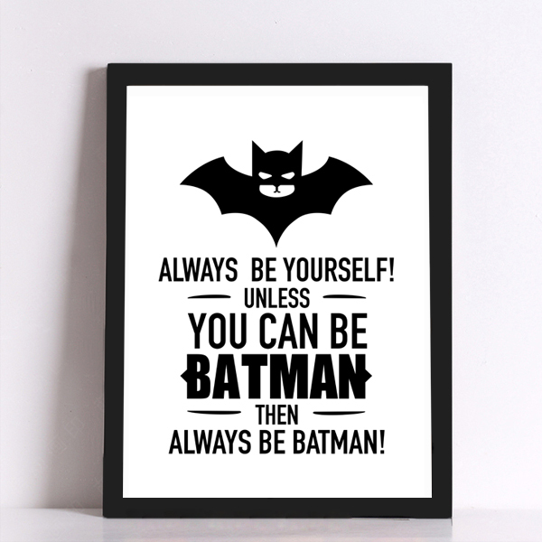 batman quote canvas art print poster wall pictures for home decoration frame not include fa246. Black Bedroom Furniture Sets. Home Design Ideas