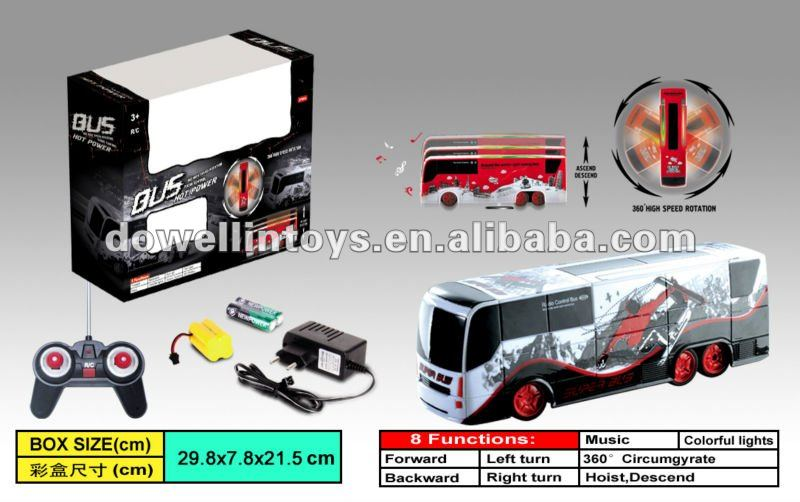hot sale!!!360rotation model bus rc with lights and music