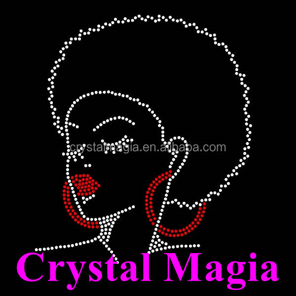2017 afro girl rhinestone transfer crystal diamond fashion girl hot fix motif