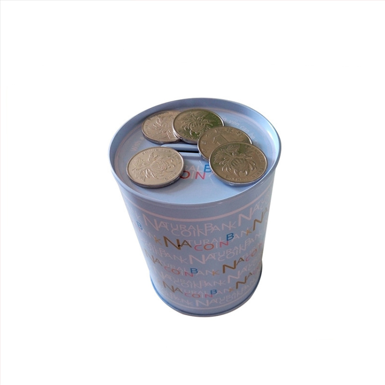 Cute Round Tin Can Coin Bank for Children OEM Custom Metal Money Box Wholesale Kids Money Tin