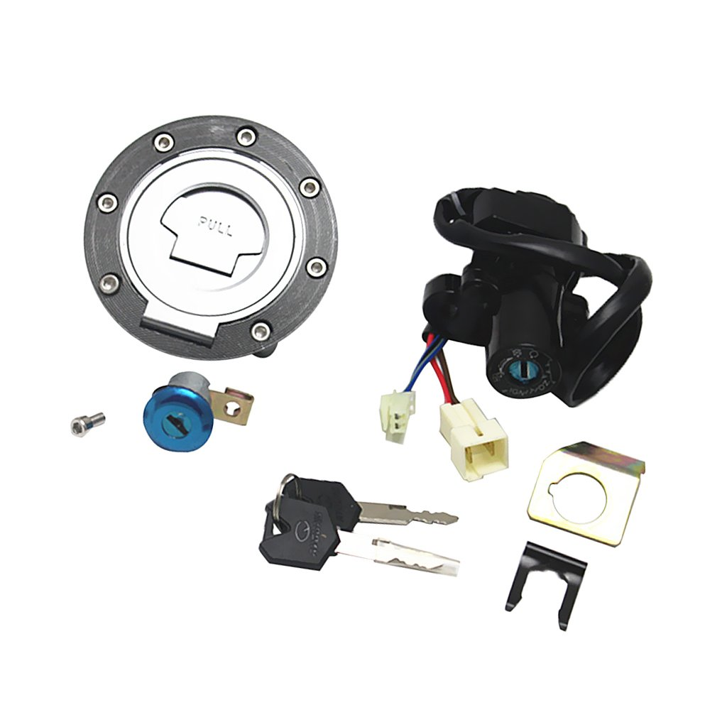 MagiDeal 1 Set of Ignition Switch Lock Fuel Gas Cap with 2 Keys For Honda JR1300 2003-2005 Yamaha YZF R1 2004-2015 YZF R6 2006-2015
