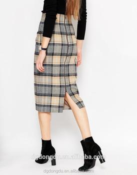 ca20c2f12c Wholesale Korean Style Latest Women plaid Denim Skirt China Manufacturer  High Waist Mini Skirt /Knee