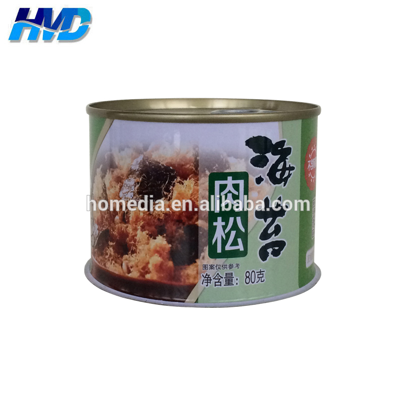 862# empty dried meat floss food tin can with sea sedge flavor