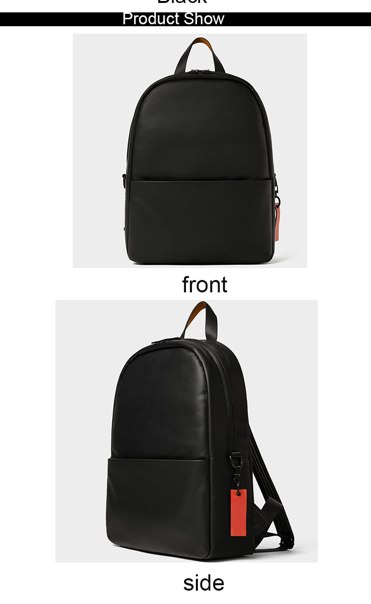 oem waterproof smooth pu leather men black bags personalized stylish backpacks