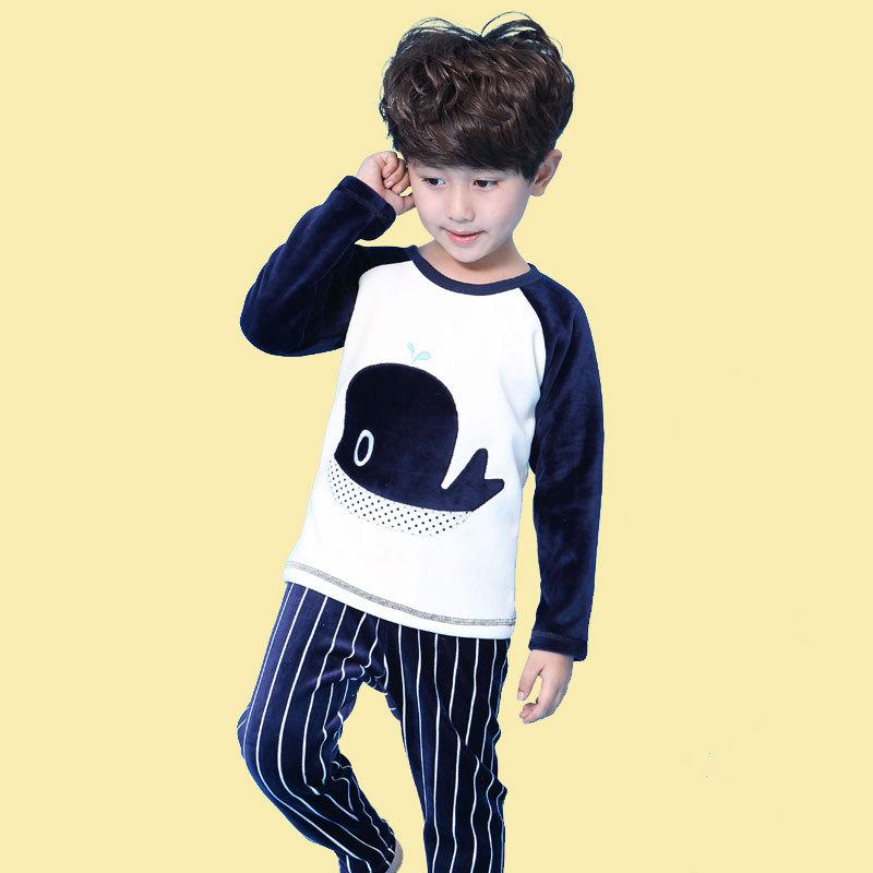 children cotton whale Underwear twinset stripe thick warm velvet underwear for boys girls