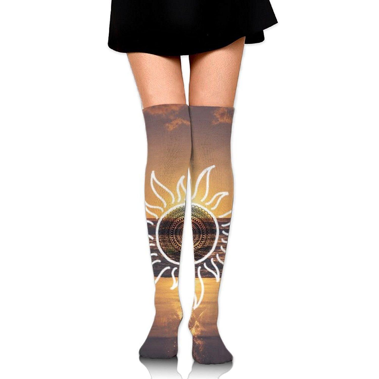 Zaqxsw Tattoo Sun Women Vintage Thigh High Socks Cotton Socks For Ladies