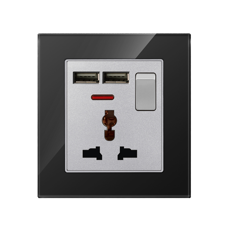 1 Gang 3 Pin Electric Switch 2 USB port glass panel