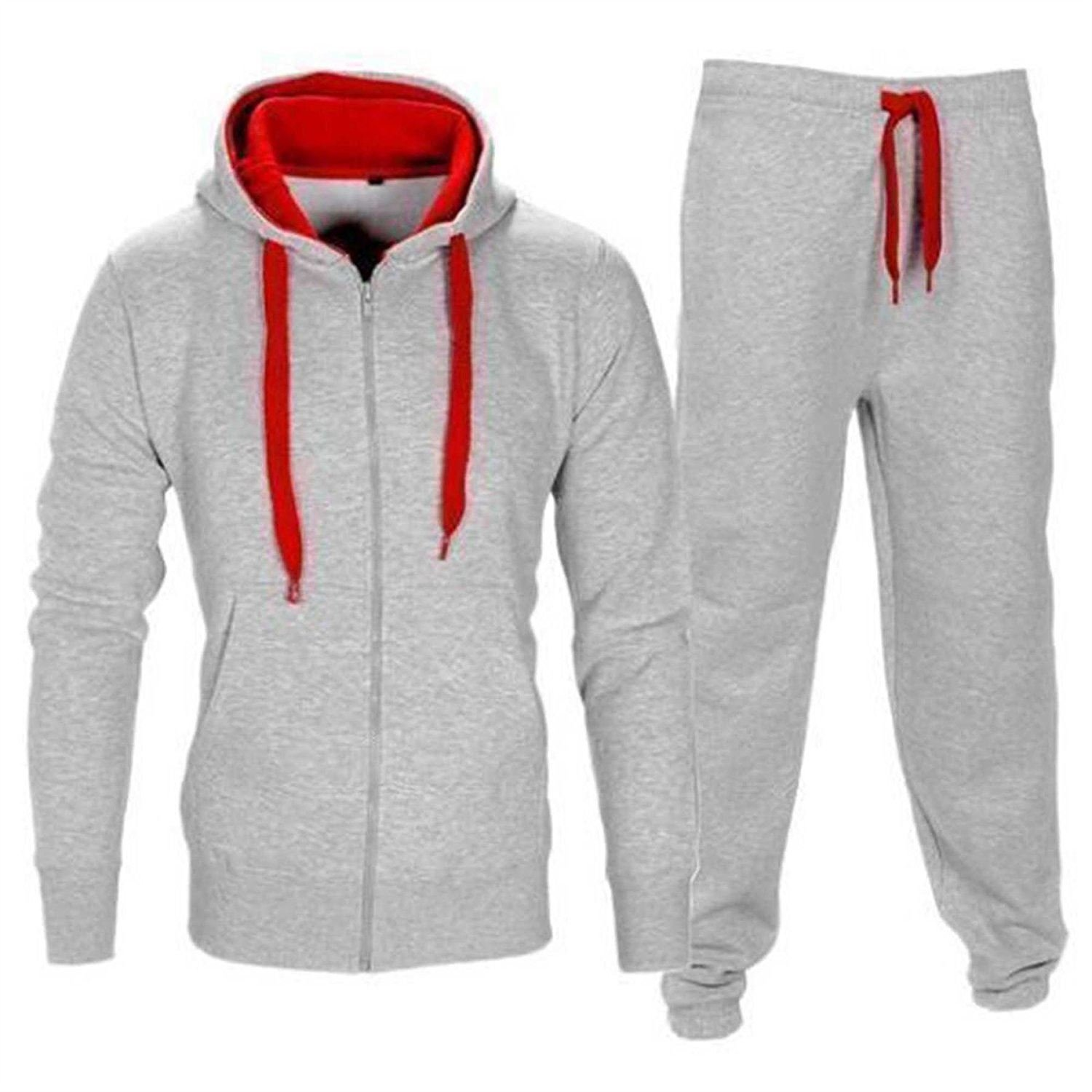 5901cc0fe Get Quotations · Kids Contrast Cord Fleece Full Zip Up Kids Tracksuit  Hoodie Gym Suit Jogging Joggers