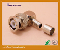 75 ohm bnc male crimp 90 degree elbow angle coax connector for rg59 cable