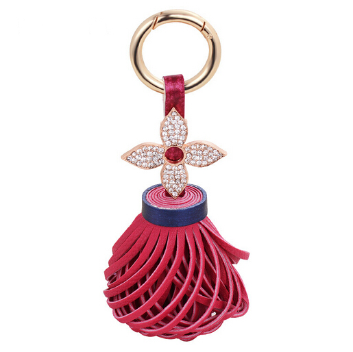 Fashion Rhinestone Crystal flower Keychains Tassel Bag Accessories Charm