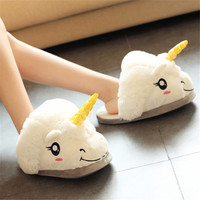 Hot Selling New Arrival Soft Woman Unicorn Plush Stuffed Cotton Indoor Slipper