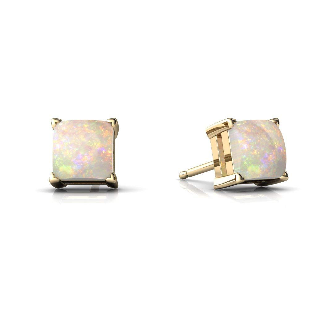 14kt Gold Opal 5mm Square Princess Cut Stud Earrings