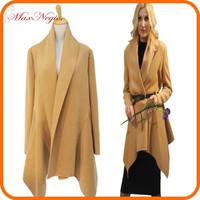 2014 MAXNEGIO China factory Long sleeve handmade 100 cashmere wool coat