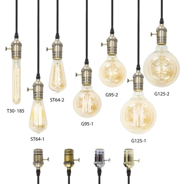 China light lamp parts wholesale alibaba lighting accessories parts vintage edison light bulbs t30 st64 g95 g125 with brass lamp holder e27 mozeypictures Gallery