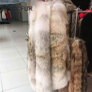 high quality luxury fluffy natural color fur collar strips genuine coyote fur collar trimming