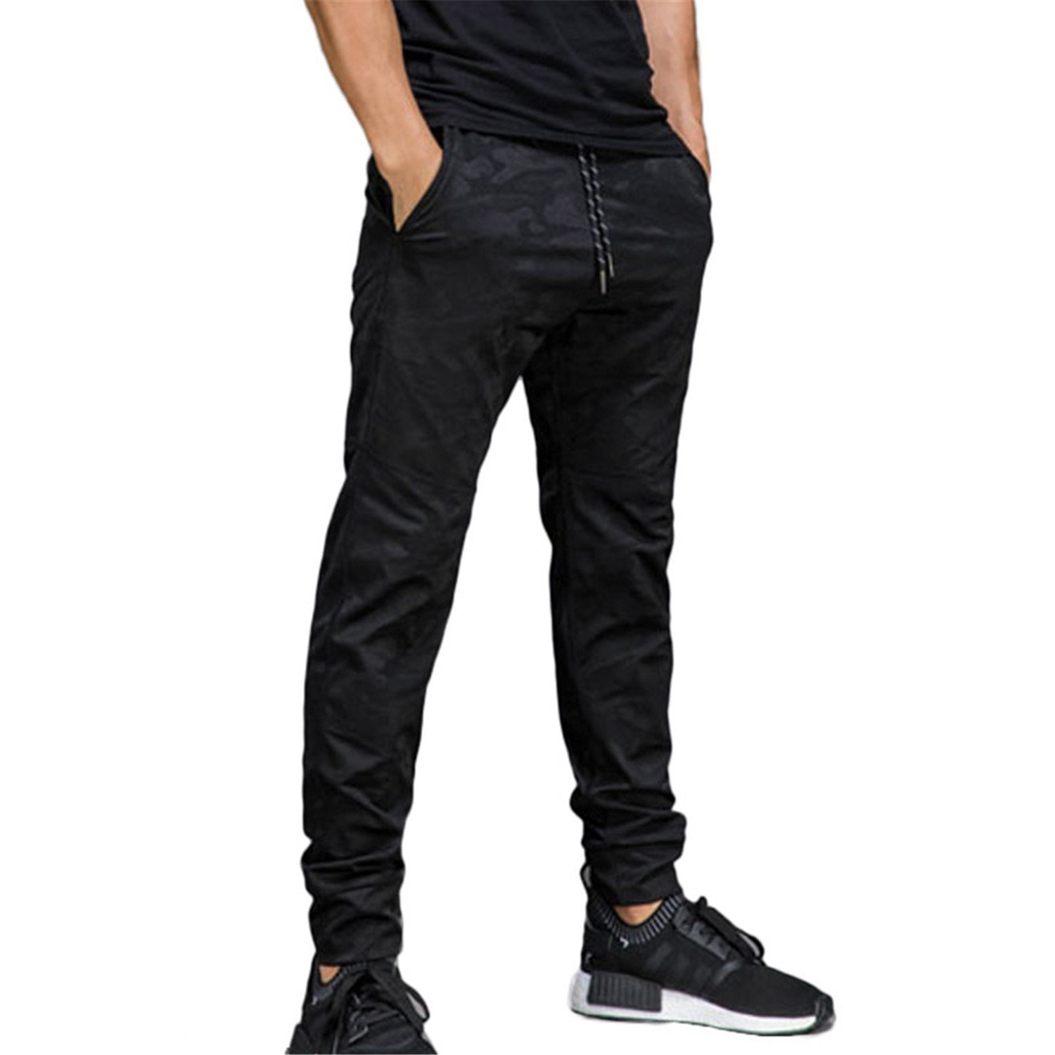 Pajamasea Jogger Pants Men's Active Slim Fit Basic Flat-Front Black Stylish Ankle Trousers Casual Skinny Bottoms Sweatpants