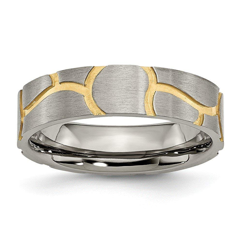 Jewelry Best Seller Titanium Grooved Yellow IP-plated Ladies 6mm Brushed Band