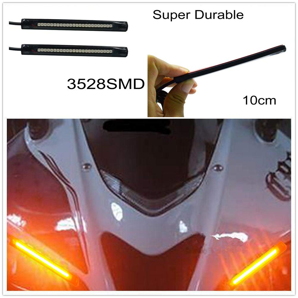 2x 10CM 5050 PVC led Strip led motorcycle Turn signal Universal Amber lights Strip with 24LED