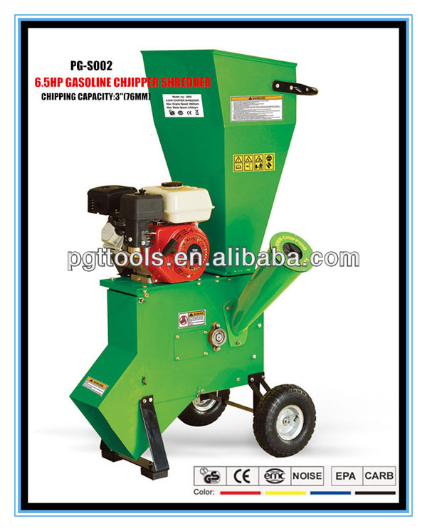 6.5HP 76MM Tractor Pto Petrol Garden Wood Chipper Shredder With Electric Motor