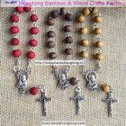 3colors 6*7mm wooden rosary bracelet, religious catholic bangle with rose scent, virgin mary centerpiece and benedict cross