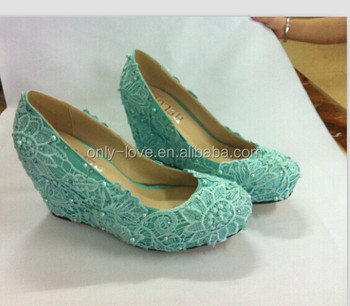 BS860 Blue Lace Wedge Heel Wedding Shoesparty Shoes Evening