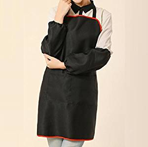 GL&G Women can adjust the hanging neck apron, anti-fouling anti-oil, pocket, barbecue cooking gardening aprons,red,75cm65cm