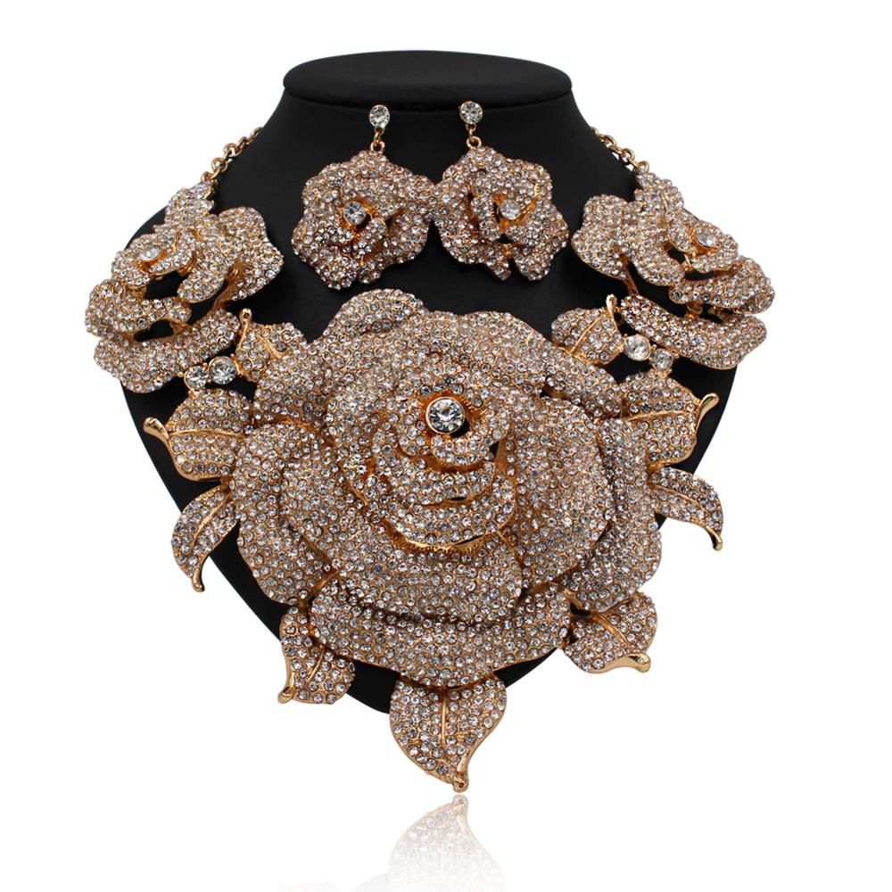 Luxury Expensive Rose Flower African Big Gold Plated Jewelry Set ...
