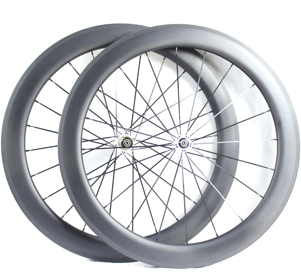 Full carbon fiber bicycle parts fixie wheelset clincher bike wheels 60mm