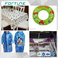 pvc printed film 0.07mm used for rain coat tablecloth swimming ring