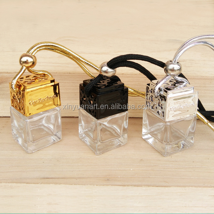 Popular 8ml Square Shape <strong>Empty</strong> Hanging Car Room Bathroom <strong>Perfume</strong> <strong>Bottle</strong>,Air Freshener Auto Fragrance Diffuser