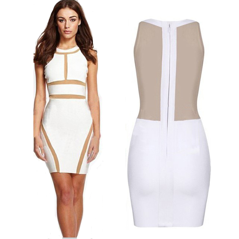 b12cf1676c18 Get Quotations · 2015 New Summer Women White Bandage Party Dress Sleeveless  Hollow Out Dress Mesh Patchwork Bodycon Casual