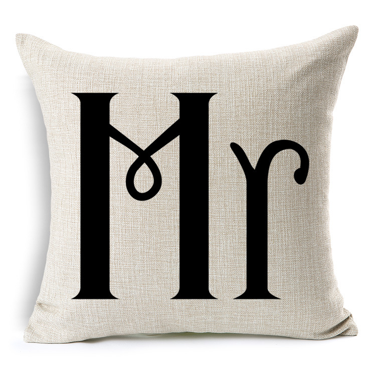 Customized Printed Creative Mr And Mrs Design Wedding Chair Decorative Cushions Wholesale