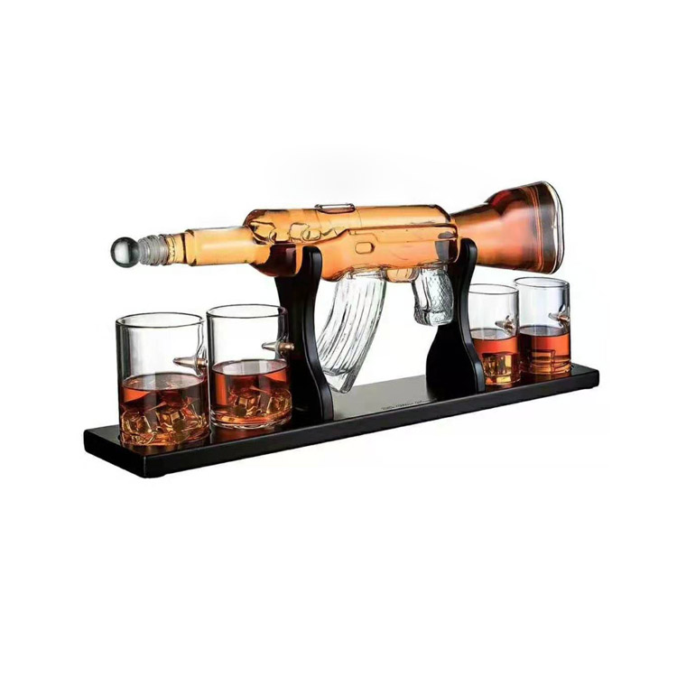 Grote Glas Wijn Fles Party Gun Whiskey Decanter Alcohol Glas Gun Shape Decanter