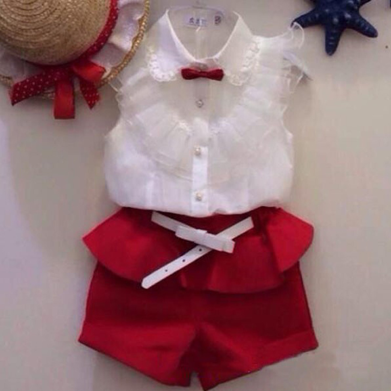 Summer fashion Girl lace white blouses red shorts clothing set kids clothes sets twinset