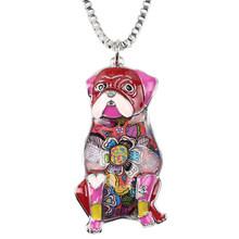 WEVENI эмалированный сплав, сидящий мопс, подвеска для ожерелья для собак, ошейник, чокер, цепочка, милые животные, ювелирные изделия для женщин...(Китай)