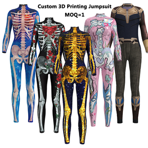 Dropship wholesale 3d printed sublimation floral long sleeve adult custom made printing one piece bodycon jumpsuit for woman