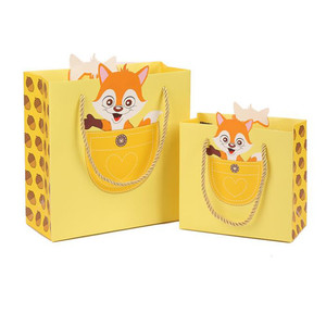 China manufactures yellow cartoon fox printed logo gift bags lovely vivid colored cartoon paper bag decorations